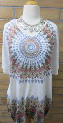 13006SX- Tribal Embellished Flow Tunic