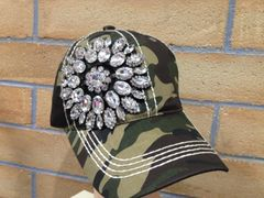 40156 Camo Cap with Bling Flower