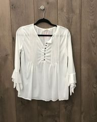 162WH- White Blouse w/ Bell Sleeve