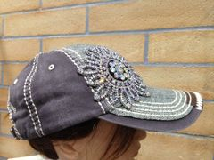 Silver and Grey Cap with AB Crystal Flower