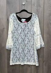 1277 - Cream Lace Dress w/ Brown Slip
