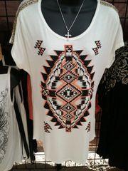 12557S - White Southwestern Shirt