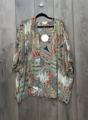 A9147 - Tan w/ Multi Color Design Cardigan