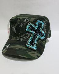 Camo Cap with Turquoise Cross