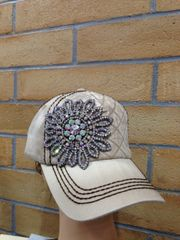 Tan Cap with AB Bling Flower