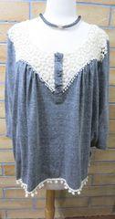 WC7204 Womens Grey With Crochet Neckline/Crochet Fringe Bottom