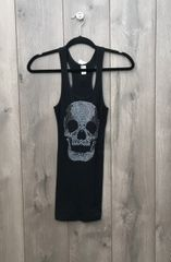 J2C0262 - Black Tank w/ Skull Embellishment