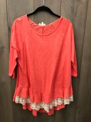 Coral 3/4 Sleeve Tee W/Lace Trim