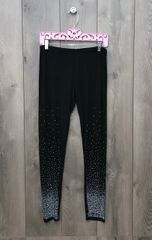 14466Pl - Black Legging w/ Crystal Ombré Design