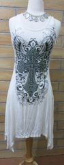 9442D White Embellished Racerback Tunic Dress