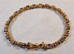 Gold Plated Sterling Silver Amethyst Tennis Bracelet 4.4 TCW #5581