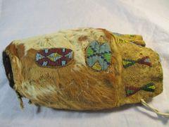 Rare 1890's Sioux Beaded Calf Head Medicine Bag