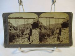 Vintage Underwood & Underwood Stereoview Card Santa Fe Indians and Train 1903