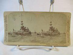Vintage Underwood & Underwood Stereoview Card Oregon Battleship 1898