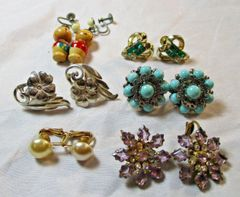 Lot of 6 pairs vintage 1950's Earrings #CJ9018