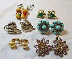 Lot of 6 pairs vintage 1950's Earrings #CJ9018