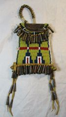 Native American Style Beaded Bag with Tin Cones and Bells