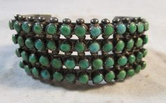 Rare Antique Navajo Sterling Silver and Turquoise Cuff Bracelt