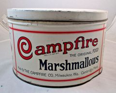Antique Vintage 1920s Campfire Marshmallows 5lb Advertising Tin #13-8041