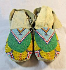 Early 1900's Fully Beaded Sioux Moccasins