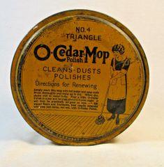 1923 O-Cedar Mop #4 Triangle Tin Yellow Brown Round Tin Empty