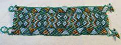 Handmade Thick Native American Beaded Bracelet Pine Ridge South Dakota #5685