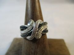 Blue and White Diamond Sterling Silver Weave Ring Size 6.5