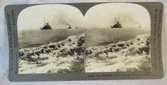 Vintage Keystone View Company Stereoview Card Battleship Fleet Hampton Roads VA