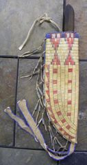 Native American Sioux Style Quilled Beaded Knife Sheath Indian Old Style