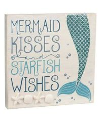 Grassland Road Mermaid Kisses and Starfish Wishes Wooden MDF Sign
