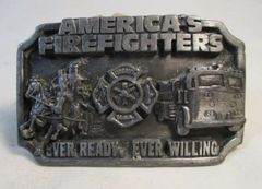 America's Firefighters Ever Ready, Ever Willing Belt Buckle Siskiyou 1983 #6652