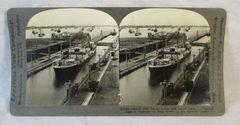 Vintage Keystone View Company Stereoview Card Panama Canal Ships