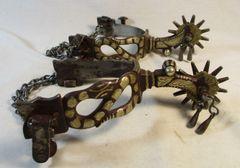 Unmarked Snake Silver Mounted Garcia Spurs #28
