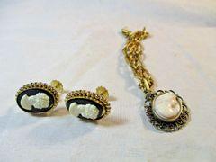 Vintage Cameo Screwback Earrings and Bracelet #CJ9011