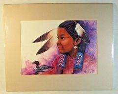 """52/100 Chippewa Artist David W Craig Watercolor Print """"Morning Song"""" #6860"""