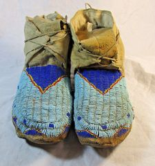 Circa 1890 Fully Beaded Sioux Moccasins