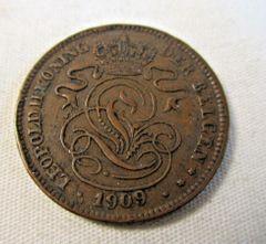 Belgium 2 Centimen 1909 Leopold II Monogram African Lion #6978