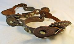 Vintage Griff Silver Mounted Copper Spurs Praying Cowboy & Horse #36