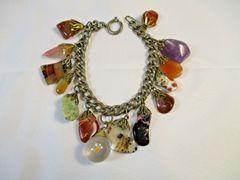 Vintage Polished Stones Agates Charm Bracelet 1960's