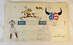 NATIVE AMERICAN INDIAN LEDGER ART BY MERLE LOCKE LAKOTA ARTIST ON 1926 PAGE