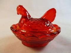 Rosso Red Small Hen on Basket Nesting Dish #13-2C
