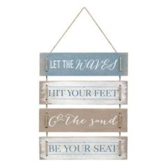 """Grasslands Road """"Let the Waves Hit Your Feet"""" Plaque Wallhanging Sign"""
