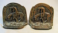 """Antique Cast Iron book ends """"End of the Trail"""" Bronze Tone #2628"""
