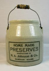 H. A. Johnson & Co., Boston, Mass. Home Made Preserves Crock
