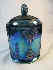 Vintage Indiana Harvest Grape Carnival Glass Large Canister with Lid Blue