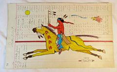 NATIVE AMERICAN INDIAN LEDGER ART BY MERLE LOCKE LAKOTA ARTIST ON 1916 PAGE