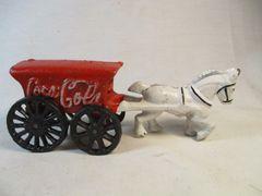 Vintage Cast Iron Coca Cola Horse Drawn Cart #1571