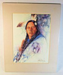"26/100 Chippewa Artist David W Craig Watercolor Print ""Spirit Within"" #6862"