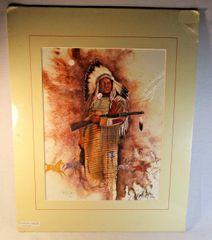 "20/150 Chippewa Artist David W Craig Watercolor Print ""Warrior Stands"" #6868"
