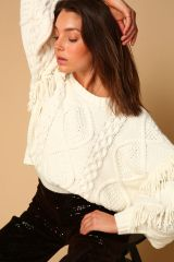 Line + Dot Jasper Fringed Sweater